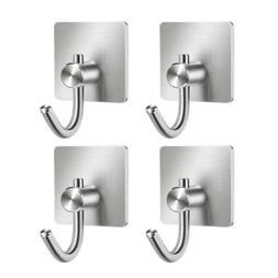1/2/4PCS Stainless Steel Self Adhesive Hooks Sticky Wall Doo