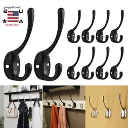 10pcs Heavy Duty Dual Coat Hooks Wall Mounted 20 Screws Retr