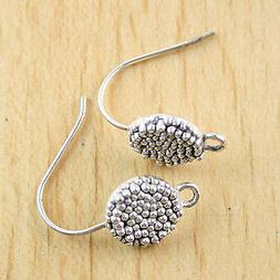 16pc Tibetan silver color round studded earring hook charms