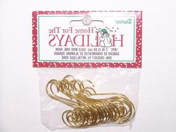 """18 Fancy Scroll Ornament Hooks Gold Color Wire 2"""" Christmas"""