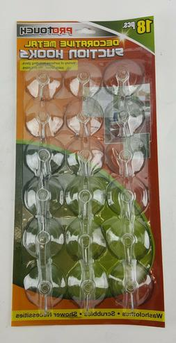 18 pk CLEAR SUCTION CUPS with METAL HOOKS Windows, Mirrors,