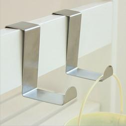 2/4/6/8Pcs Chrome Over the Door Hooks Hanger Robe Towel Coat