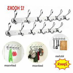 2pcs 12Hooks Stainless Steel Coat Robe Hat Clothes Wall Moun