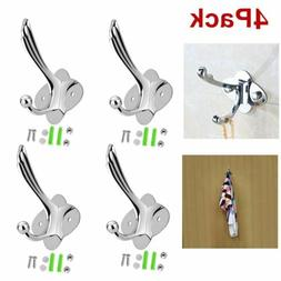 4 Hooks Stainless Steel Coat Robe Hat Clothes Wall Mount Han