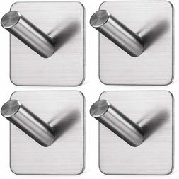 4 pack Self Adhesive Wall Hooks Hangers Stainless Steel Brus