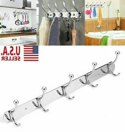5 Hooks Stainless Steel Coat Robe Hat Clothes Wall Mount Han
