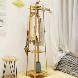 Bamboo Entry Hall Garment Rack Clothes Coat Rack Standing Di
