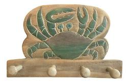 Blue Crab Whitewashed Carved Wood Hooks 12 Inch Wall Plaque