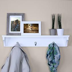 Ballucci Wooden Wall Mounted Hat and Coat Rack Shelf with 3
