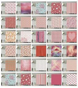 Coral Pattern Shower Curtain Fabric Decor Set with Hooks 4 S