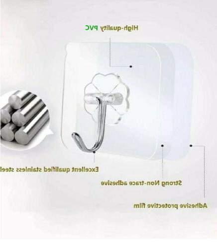 12/24Pc Adhesive Sticky Heavy Wall Hooks Transparent
