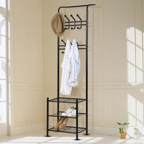 Metal Hat and Coat Bags Clothes Cloth Shoe Rack Stand Shelf