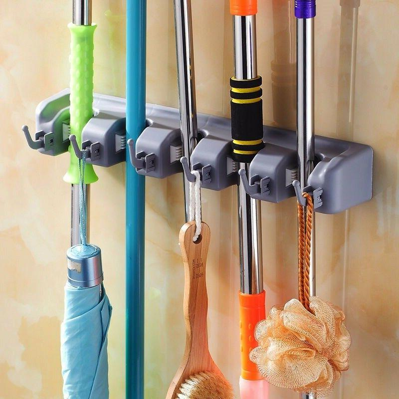 Broom Garden Tool Organizer 5 Slots Hooks for Rake Wall
