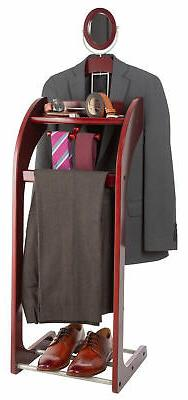 NEW Wooden Valet Stand for Clothes, Tray Organizer, Tie & Be