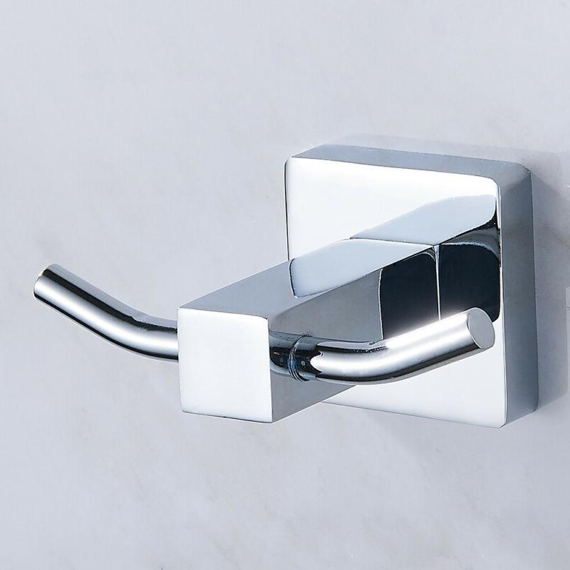 Chrome Square Double Robe Hook Towel Holder Bathroom Brass W