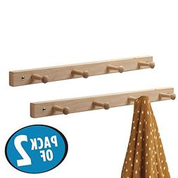 mDesign Wall Mount Entryway Storage Wood Rack for Jackets, C