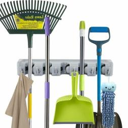 Mop and Broom Holder Wall Mount Broom Organizer Cleaning Hoo