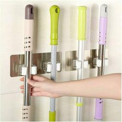 Self-Adhesive Broom Mop Holder with 2 Hooks Home Kitchen Sto