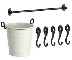 Ikea Steel Kitchen Organizer Set, 31-inch Rail, 5 Hooks, Fla