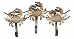 Stone Crab Triple Hooks Carved Wood and Metal Wall Decor