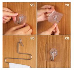 TRANSPARENT Adhesive Seamless Wall Hooks 13 Lb Max Waterproo