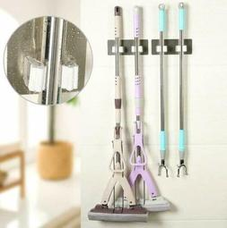 Wall Mount Mop Broom Holder Hanger Cleaning Kitchen Tool Dou