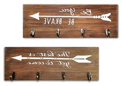 Spiretro Set of 2 Wall Mount Plaque with 4 Hooks and Arrow S