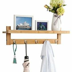 Wall-Mounted Coat Racks Hook Bamboo Wooden And With 5 Metal