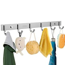 OUNONA Wall Mounted Stainless Steel Coat Rack with 6 Hooks
